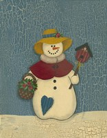 Snowwoman With Crackle Background Framed Print