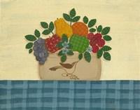 Fruit With Dark & Lt. Blue Tablecloth Framed Print