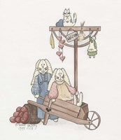 Wheelbarrow Bunnies Fine Art Print