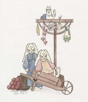 Wheelbarrow Bunnies Fine Art Print