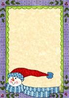 Bright Snowman W/Purple Border Framed Print