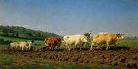 Ploughing in the Nivernais, 1849 Fine Art Print