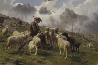 Shepherd Boy in the Pyrenees Offering Salt to his Sheep, 1864 Fine Art Print