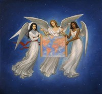 Angels with map Fine Art Print