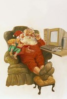 Santa Learning Computer Fine Art Print