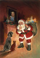 Santa And Family Pets Fine Art Print