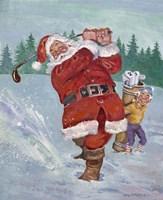 Snow Golfing Santa Fine Art Print
