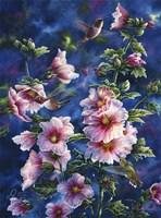 Hollyhocks And Hummingbirds Fine Art Print