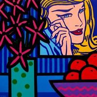 Still Life With Lichtenstein Crying Girl Framed Print
