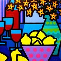 Wine, Lemons and Flowers Framed Print