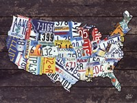 USA License Plate Map Fine Art Print