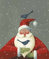 Santa with Bluebirds Fine Art Print