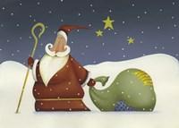 Santa and his staff Fine Art Print