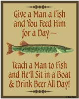 Give Teach Fish Beer Fine Art Print