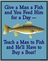 Give Teach Fish Boat Fine Art Print