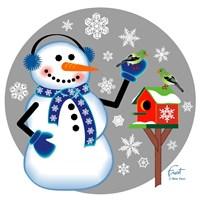 Snowman Birdhouse Fine Art Print