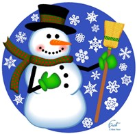 Snowman Broom Fine Art Print