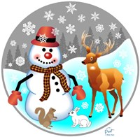 Snowman Forest Animals Fine Art Print