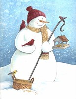 Snowman Red Hat Fine Art Print