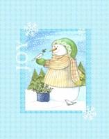 Snowman Doves Framed Print