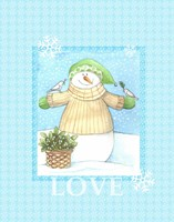 Snowman Dove Love Fine Art Print