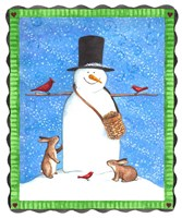 Snowman Black Hat Heart Border Fine Art Print