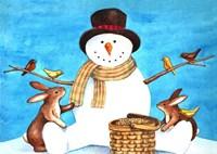 Snowman Bunnies Fine Art Print
