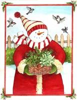 Snowman Gift Basket Fine Art Print