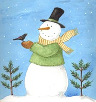 Snowman Green Blackbird Fine Art Print
