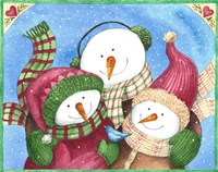 Snowman With Bluebird Fine Art Print