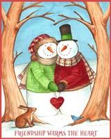 Snowman Tree Heart Share Fine Art Print