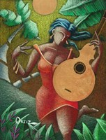 Woman with Guitar Fine Art Print