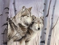 Two Wolves In The Birches Fine Art Print