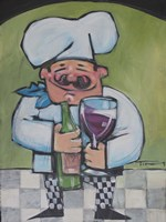 Chef With Wine A Framed Print