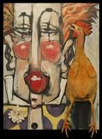 Clown And Rubber Chicken Fine Art Print