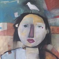 Girl With Dove On Head Fine Art Print
