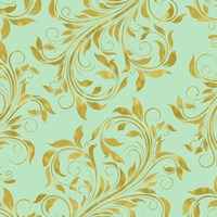 Golden Mint Damask I Fine Art Print