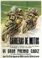 Carreras de Motos Fine Art Print