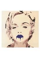 Madonna Pop Art Blue Lips Framed Print
