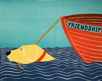 Boat Friendship Yellow Fine Art Print