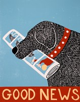 Good News Dog Black Fine Art Print