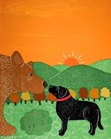 I Meet A Bear Black Autumn Fine Art Print