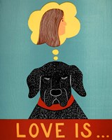 Love Is Dog Girl Black Fine Art Print