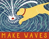 Make Waves Yellow Wbanner Fine Art Print
