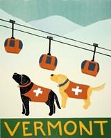 Vermont Ski Patrol Black Fine Art Print