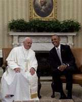 Pope Francis talks with US President Barack Obama Fine Art Print