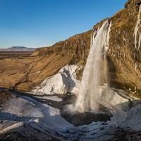 Seljalandsfoss Waterfall in the Winter, Iceland Fine Art Print