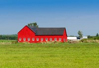 Red barn in Grenville County in Ontario, Canada Fine Art Print
