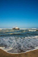 Shipwreck on the beach, Skeleton Coast, Namibia Fine Art Print