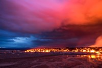 Glowing Lava and Skies at the Holuhraun Fissure, Iceland Fine Art Print